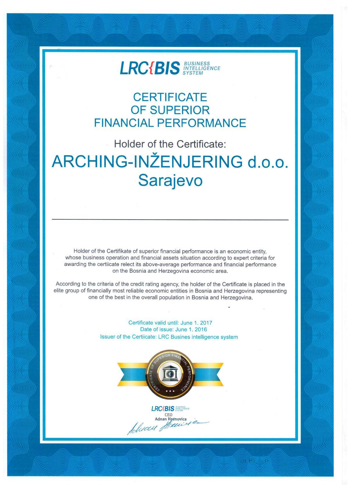 Certifikat Boniteta - LRC-BIS
