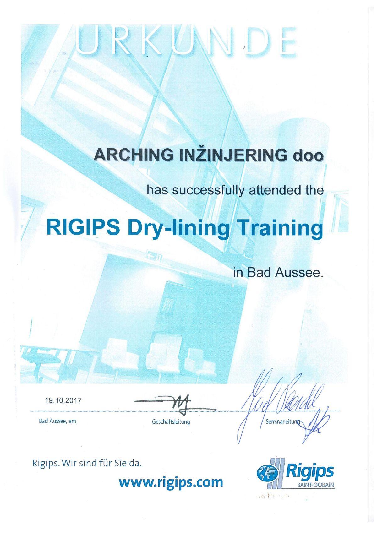 Certifikat uspješno završenog Rigips Treninga